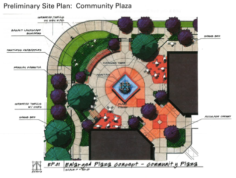 Proposed plaza design from the April 2013 plan reviewed by the Design Review Board