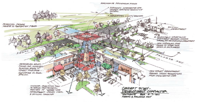 An image of the plaza design from the Integrated Site Plan