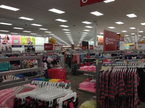 Undisturbed racks of back to school clothing.
