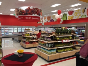 The new Target features limited fresh produce and other groceries.