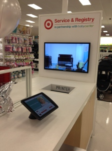 Interesting gift registry station out in the middle of the store. Check out the tablet interfaces.