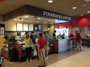 A full Starbucks is part of the cafe inside Target.