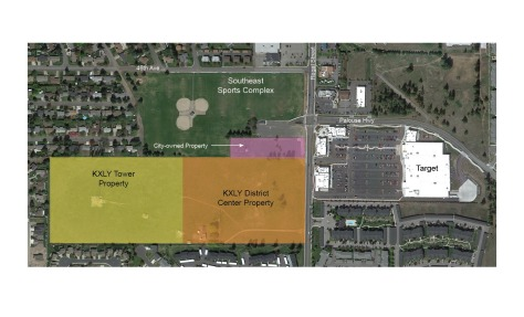An overview of the Southgate District Center with the KXLY properties highlighted.