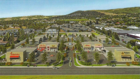 Rendering of proposed development looking east from Regal Street towards Brown's Mountain.