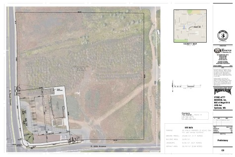 A preliminary site plan for a gas station at 44th Ave. and Regal Street.